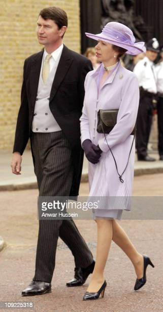 The Princess Royal and her husband Commodore Timothy Laurence arrive for the marriage of the Earl of Ulster to Doctor Claire Booth at the Queen's...