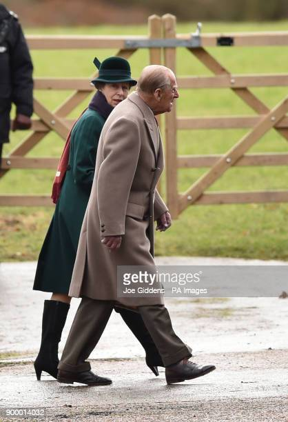 The Princess Royal and the Duke of Edinburgh arrive at St Mary Magdalene Church in Sandringham Norfolk to attend the morning church service