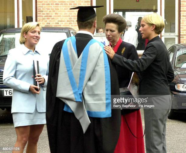 The Princess Royal and Zara Phillips congratulates Peter Phillips after his graduation at Exeter University as Peter's friend Elizabeth Iorio looks...