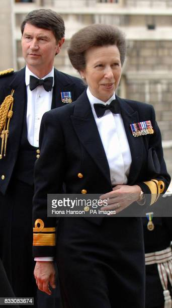 The Princess Royal arrives with husband Vice Admiral Timothy Laurence at the Royal Naval College Greenwich London for a Heroes Dinner celebrating the...