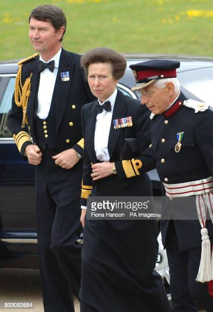 The Princess Royal arrives with husband Vice Admiral Timothy Laurence accompanied by General Sir John Kiszely at the Royal Naval College Greenwich...