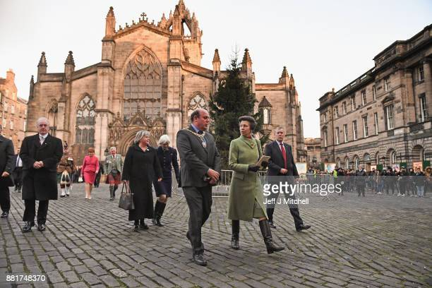 The Princess Royal departs St Giles Cathedral following a Commemoration service for Dr Elsie Ingles on November 29, 2017 in Edinburgh, Scotland.The...