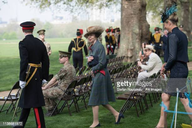 The Princess Royal during the King's Troop Royal Horse Artillery to mark Queen Elizabeth II's 93rd birthday in Hyde Park London