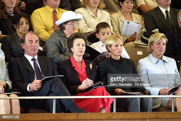 The Princess Royal her former husband Captain Mark Phillips her daughter Zara and Peter Phillips' friend Elizabeth Iorio at her son's graduation...