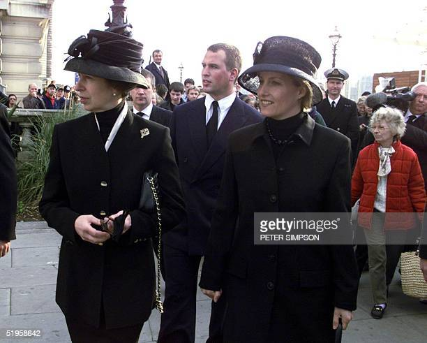 The Princess Royal , her son, Peter , her husband Commodore Tim Laurence and Sophie, Countess of Wessex, in London 08 April 2002, where they met...