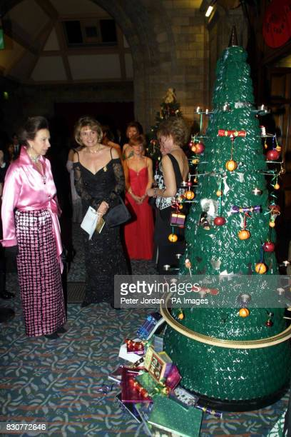 The Princess Royal look's at Diarmuid Gavin's christmas tree when she arrived for the Save The Children Festival of Trees at the Natural History...