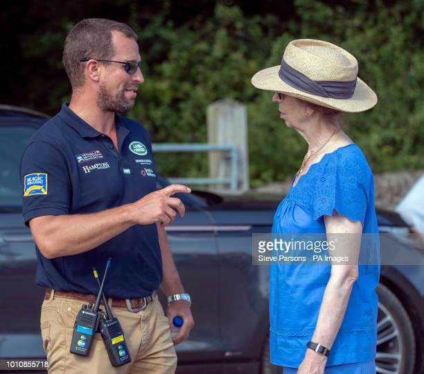The Princess Royal talks to her son Peter Phillips at the Festival of British Eventing at Gatcombe Park Gloucestershire