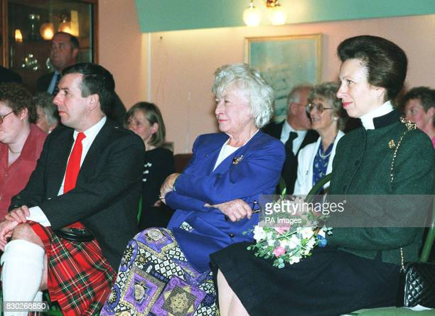The Princess Royal with David Stewart MP and MSP Winnie Ewing during a visit to Nairn Sailing Club in the north east of Scotland
