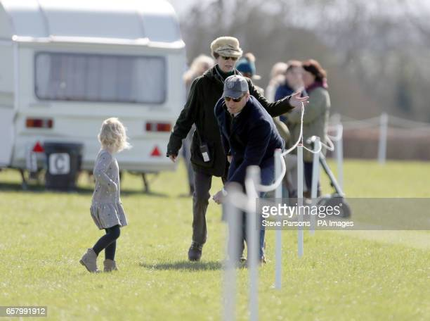 The Princess Royal with her son Peter Phillips at the Land Rover Gatcombe Horse trials in Gloucestershire