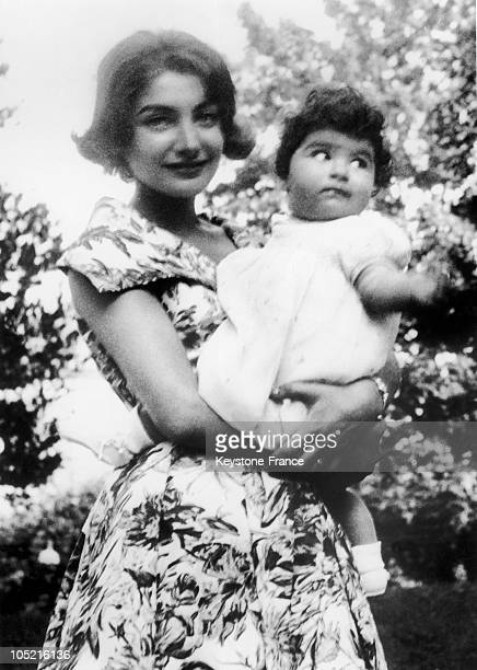 The Princess Shahnaz Pahlavi Of Iran And Her Daughter The Princess Zahra Mahnaz At The Age Of One Year Old On December 13 1959