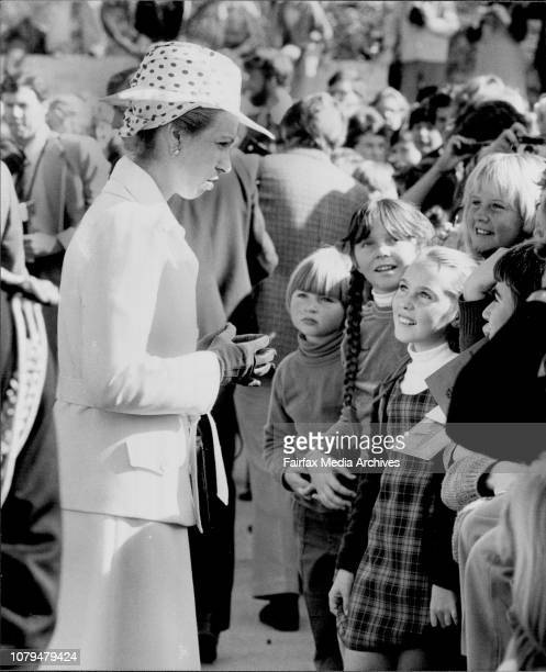The Princess talks with attracts admiring glances from the young girls of the school.Princess Anne officialy opened the Bonnet Bay Public School at...