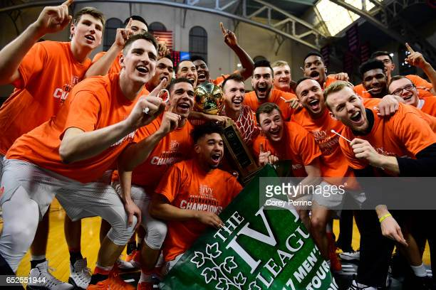 the Princeton Tigers men's basketball team poses for a portrait after the win against the Yale Bulldogs in the Ivy League tournament final at The...