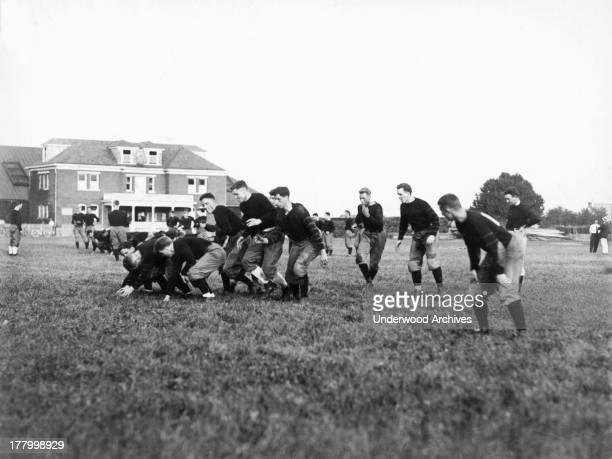 The Princeton University's football team's offensive line at practice Princeton New Jersey September 17 1912