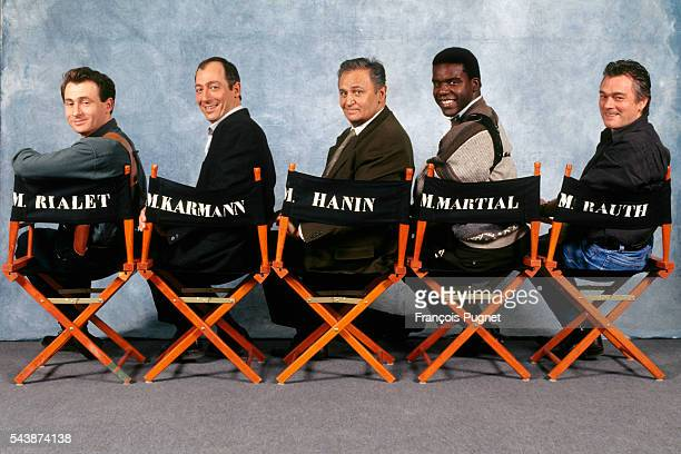 The principle actors in the French detective series Navarro from left to right Daniel Rialet Sam Karman Roger Hanin Jacques Martial and Christian...
