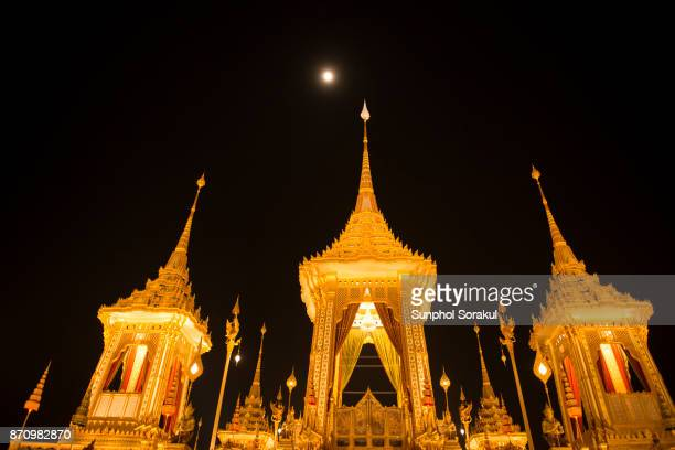 The principle pavilion and two smaller monk pavilions of the crematorium for The King Bhumibol Adulyadej at Sanam Luang, Bangkok, Thailand