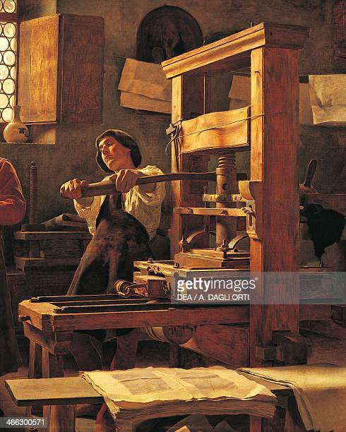 The printer Bernardo Cennini in his workshop painting by Tito Lessi oil on canvas Detail