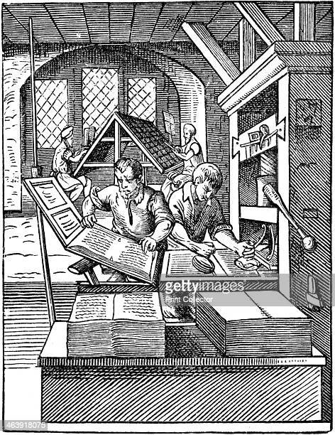 'The Printer's Workshop', 1568. In the background compositors are sitting at the type cases setting up the text. In the foreground a printed sheet is...