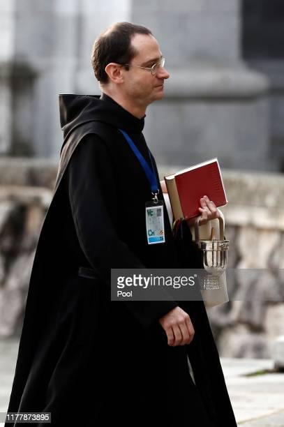 The prior of the Basilica, Santiago Cantera, arrives for the exhumation of Spanish dictator Francisco Franco at the Valley of the Fallen, on October...