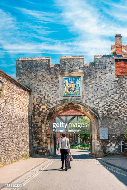 The Priory Gate is a late 15th-century gate once gave access to courtyard of Medieval Priory. Winchester. Hampshire, England. UK.