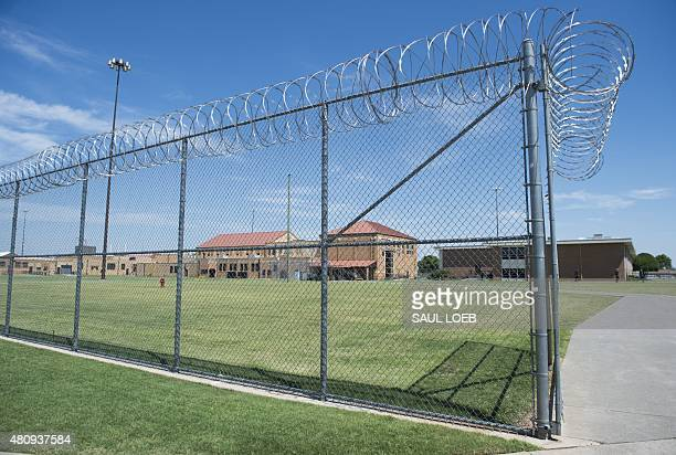 The prison yard at the El Reno Federal Correctional Institution in El Reno Oklahoma July 16 is seen during a visit by US President Barack Obama Obama...