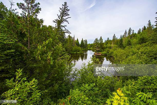The pristine Lake Echo near MorinHeights is seen on July 3 2012 in the Laurentian Mountains region of Quebec Canada MorinHeights is primarily a...