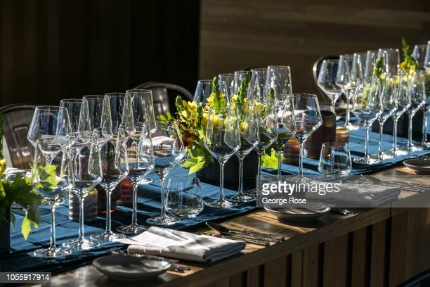 The private dining room at Silver Oak Cellars is set for a wine tasting on October 7 near Healdsburg California A cool spring and mild summer have...