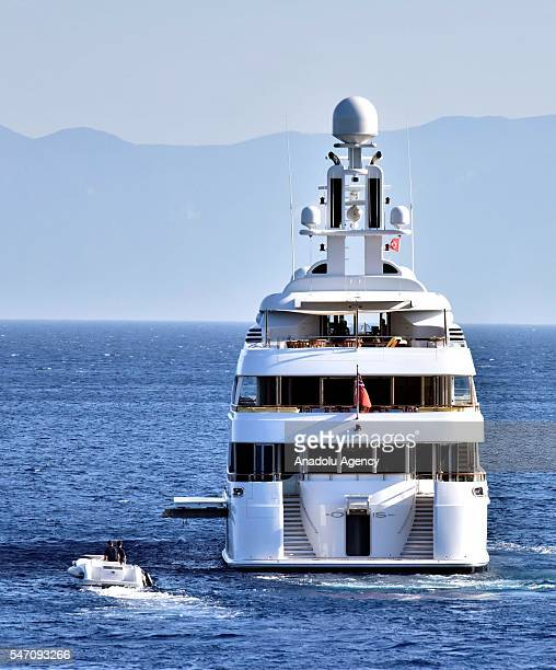 The private luxury yacht of American software engineer and Alphabet Inc Executive Chairman Eric Schmidt 59 meters 'Oasis' anchors at the offshore of...
