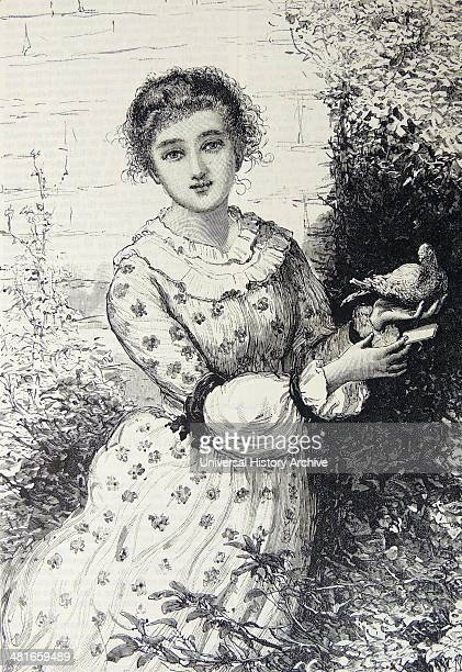 The Private Postman'' Young woman receiving a letter from her private postman Engraving London 1886