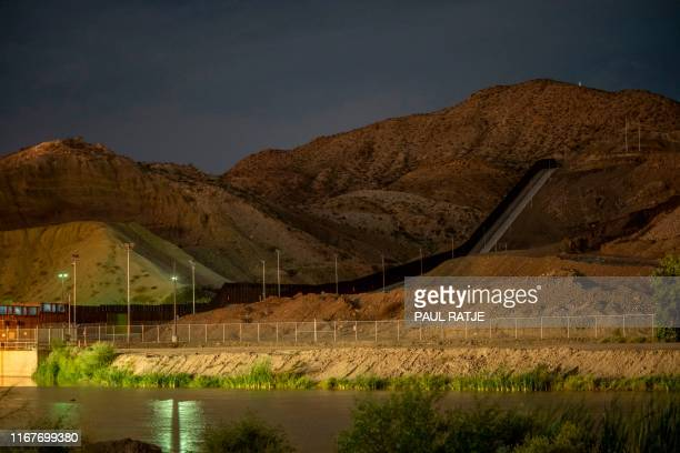 The privately funded We Build the Wall Bollard Fence is pictured on the border of Sunland Park New Mexico and Ciudad Juarez Mexico on September 12...