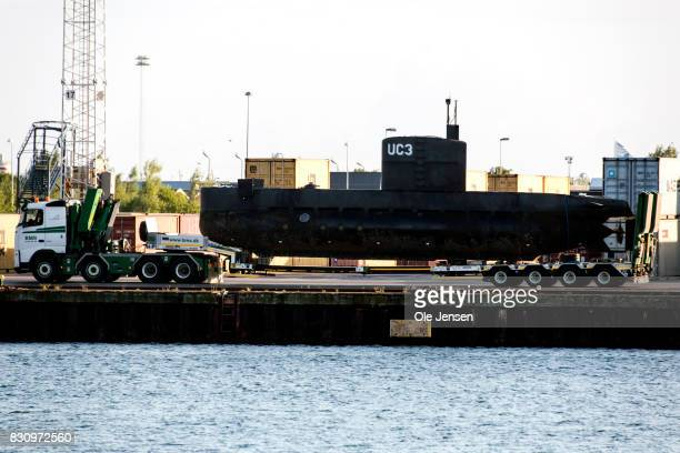 The privately owned submarine Nautilus which is the suspected crime scene for the assumed murder on Swedish journalist Kim Wall is carried out of...