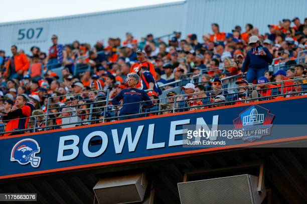 The Pro Football Hall of Fame logo was added to the late owner of the Denver Broncos Pat Bowlen's spot in the Denver Broncos Ring of Fame during a...