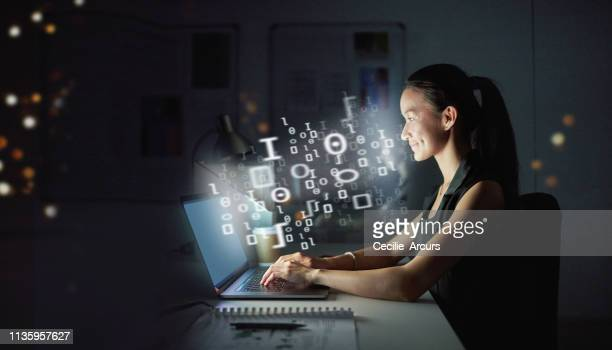 the pro in programming - contented emotion stock pictures, royalty-free photos & images