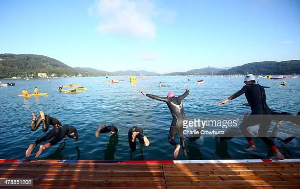 The Pro men begin the race with the swim leg during Ironman Klagenfurt on June 28 2015 in Klagenfurt Austria