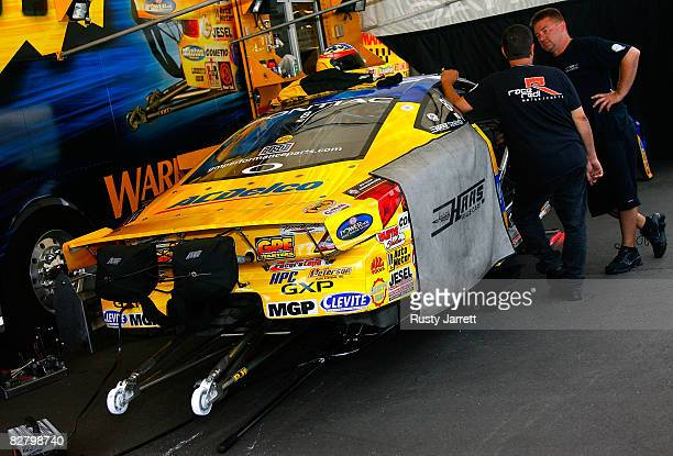 The pro stock driven by Warren Johnson being serviced between rounds during qualifying for the NHRA Carolinas Nationals at the Zmax Dragway on...