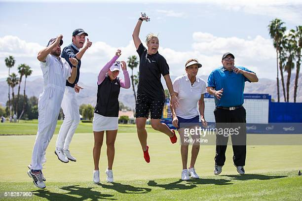 The ProAm group of Caddie Cole Pensanti Golf Channel host Tom Abbott LPGA golfer Danielle Kang US Olympic soccer player Abby Wambach and celebrity...
