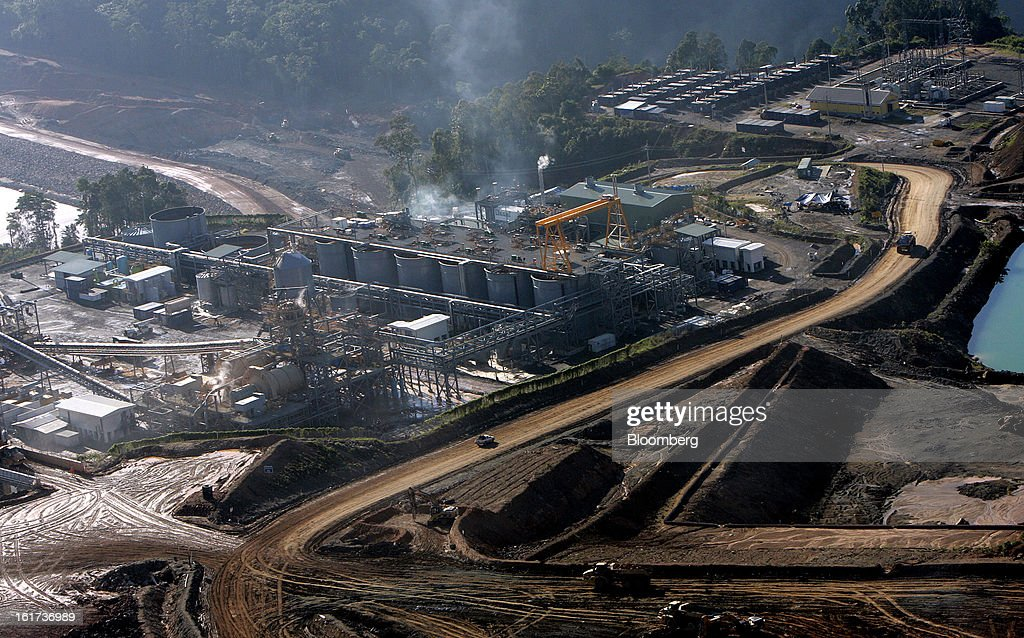 The processing facility and carbon-in-leach (CIL) tanks stand in this aerial view of the G-Resources Group Ltd. Martabe gold and silver mine in Batang Toru, North Sumatra province, Indonesia, on Wednesday, Feb. 13, 2013. G-Resources is scheduled to announce financial results on Feb. 28. Photographer: Dadang Tri/Bloomberg via Getty Images