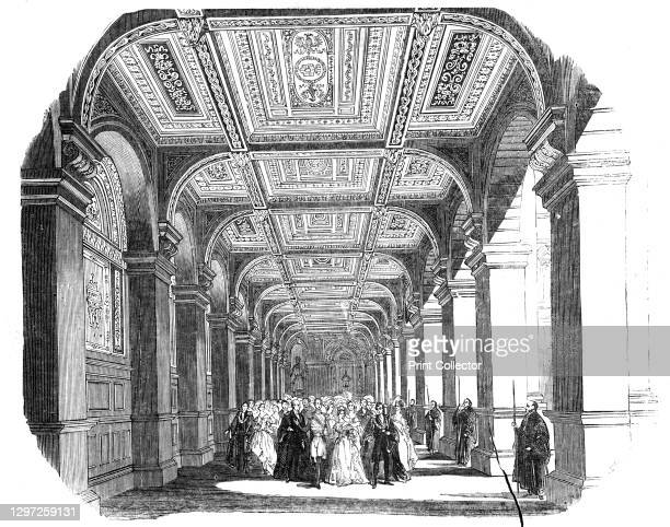 The Procession in the North Ambulatory, 1844. Opening of the new Royal Exchange building in the City of London. The building was designed by Sir...