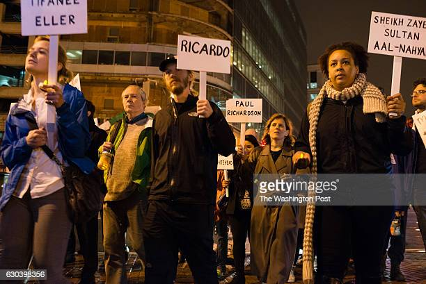 The procession marches down 14th Street People for Fairness Coalition's Third Annual Overnight Homeless vigil was held on Thursday December 17 2015...