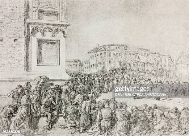 The procession of 11 June 1630, illustration by Gaetano Previati , from The Betrothed, A Milanese story of the 17th century, History of the Column of...