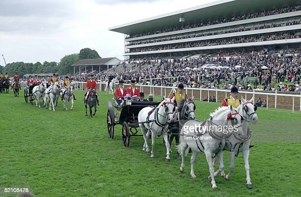 The Procession Of Royal Carriages At Royal Ascot Races On Friday