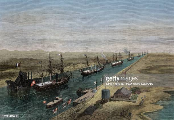 The procession of ships in the canal, opening of the Suez Canal, Egypt, illustration from the magazine The Illustrated London News, volume LV,...