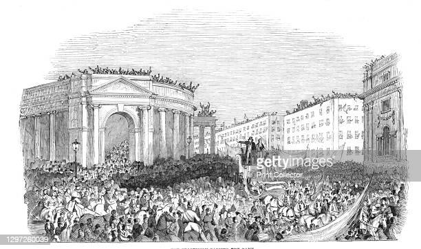 The procession passing the Bank, 1844. Celebrations in Dublin, Ireland, after the release from prison of nationalist politician Daniel O'Connell....