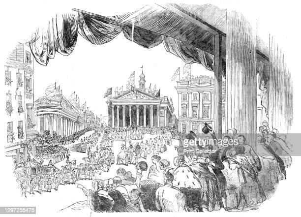 The Procession passing the Mansion House, 1844. Opening of the new Royal Exchange building in the City of London. The building was designed by Sir...