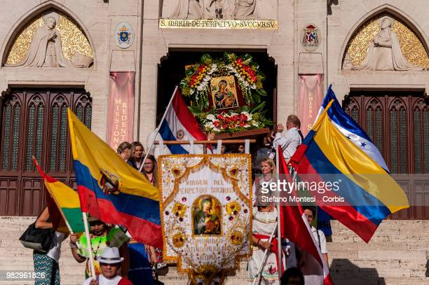 The procession the icon of Our Lady of Perpetual Succour donated by Pope Pius IX at the Redemptorist Missionaries in 1866 from the Church of St...