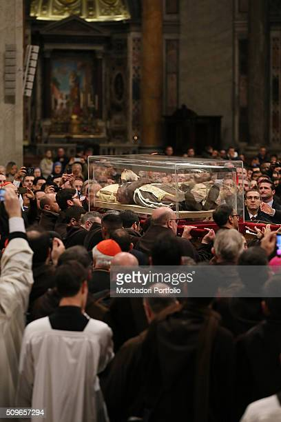 The procession with Pio of Pietrelcina 's relics in Saint Peter's Basilica during the Padre Pio Prayer Groups Jubilee Vatican City 6th February 2016