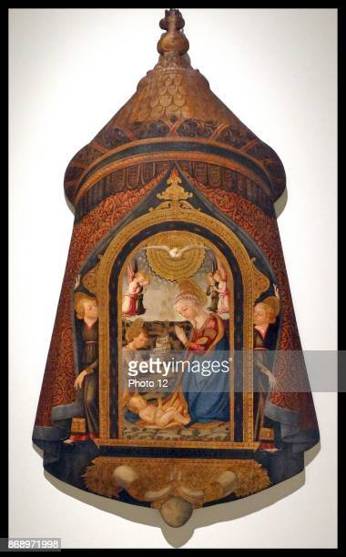 The Processional banner depicting the Child Jesus worshiped by the Virgin Mary St John the Baptist and angel by Neri di Bicci Italian painter of the...