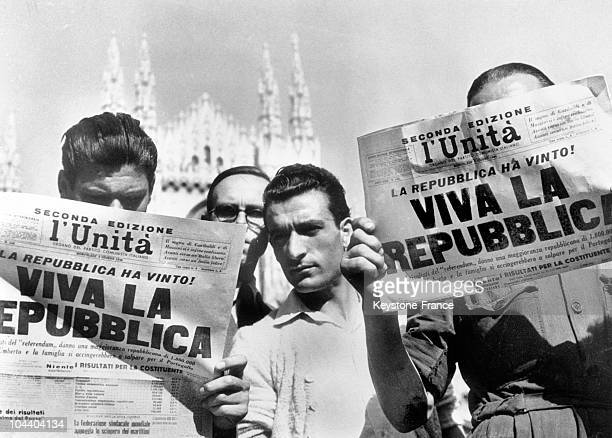 The proclamation of the Italian Republic passed by the June 2nd referendum is announced in the Italian newspapers and causes King Umberto II to be...