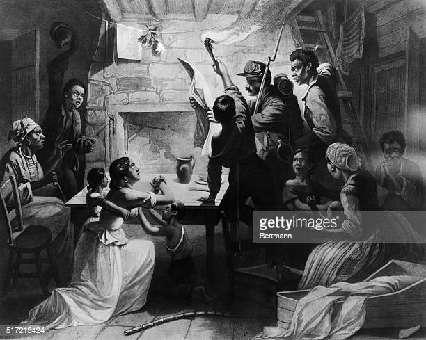 The proclamation reaches the South where a family of slaves receives news of their emancipation Reading the Emancipation Proclamation' engraving by J...