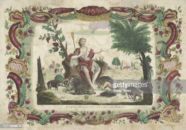 The prodigal son as a swineherd Filius prodigus qui pascit porcos , The prodigal son in frayed clothing, with shepherd's staff in hand, sitting among...