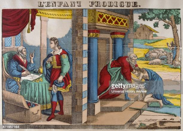 The Prodigal Son returns 19th Century colour illustration of the Biblical New Testament Story 18101825 In the story a father has two sons The younger...